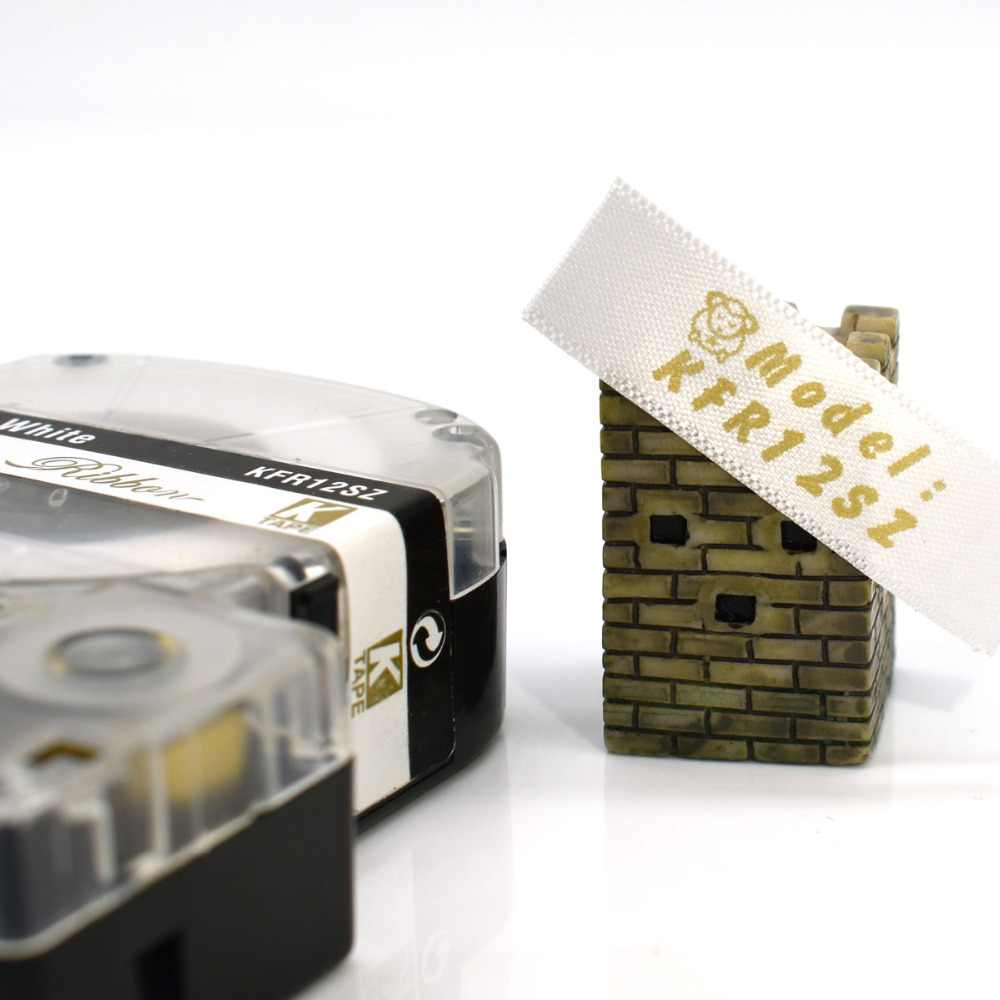 CIDY 5pcs Nastro di Raso 12 millimetri * 5m oro su nastro etichetta bianca SFR12SZ Di Natale di Cerimonia Nuziale Decorativa del Regalo avvolgimento Cintura per LW300 LW400