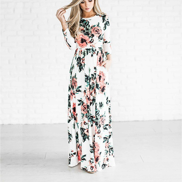 9e9ce3355c1a AVODOVAMA M 2018 Summer Long Dress Floral Print Boho Beach Dress Women  Evening Party Dresses Sundress Vestidos-in Dresses from Women s Clothing on  ...