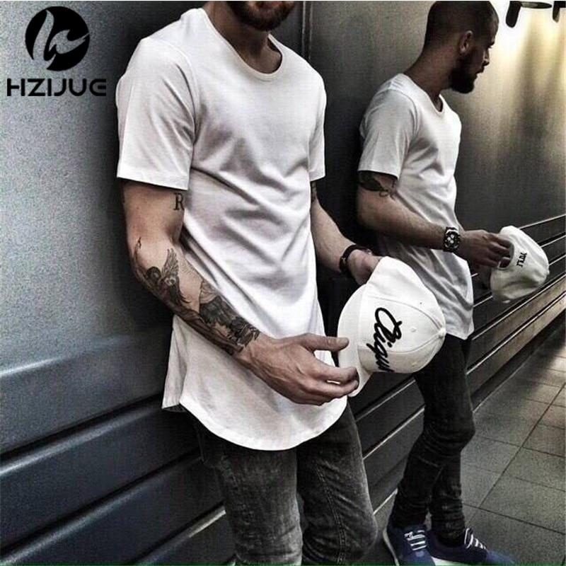 HZIJUE 2017 Hot Fashion férfiak Hip Hop Swag Long T-shirt - Férfi ruházat - Fénykép 4