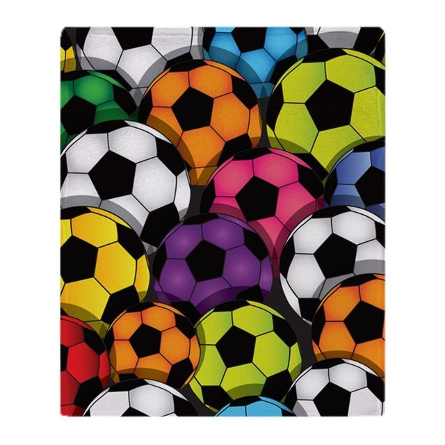 Colorful Soccer Balls Soft Fleece Throw Blanket Super Soft Printing Adorable Soccer Blankets And Throws