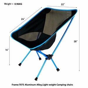 Image 3 - Składane na zewnątrz plaża połowów krzesło przenośne, Super lekkie oddychające oparcia piknik na plaży krzesło grill stołek kempingowy