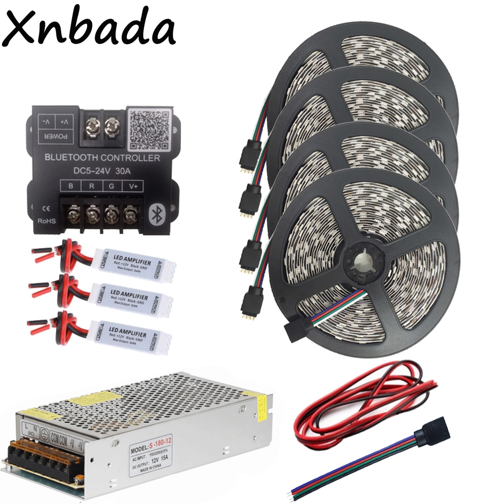 SMD5050 RGB Led Strip Led Light Flexible Tape 60Led/m DC12V+Bluetooth Led Controller+12V 15A Led Power Adapter Kit 20M 20m rgb led strip 5050 flexible led light 50leds m 4pcs 4 zone controller led remote control 12v 15a power supply kit