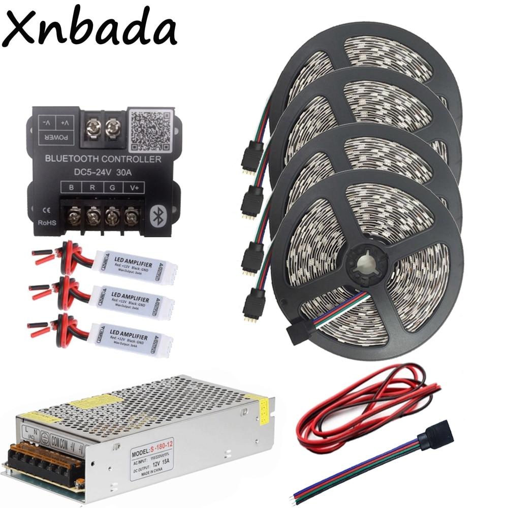 SMD5050 цветных (RGB) светодиодных лент светодиодный гибкий фонарь лента 60Led/м DC12V + blutooth контроллер управления светодиодными rgb лентами + 12 V 15A Led Мощность адаптер Комплект на расстоянии до 20 м