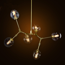 Creative glass branch chandelier wrought iron pendant lamp Industrial Glass Shade Retro lamps pendente loft lustre