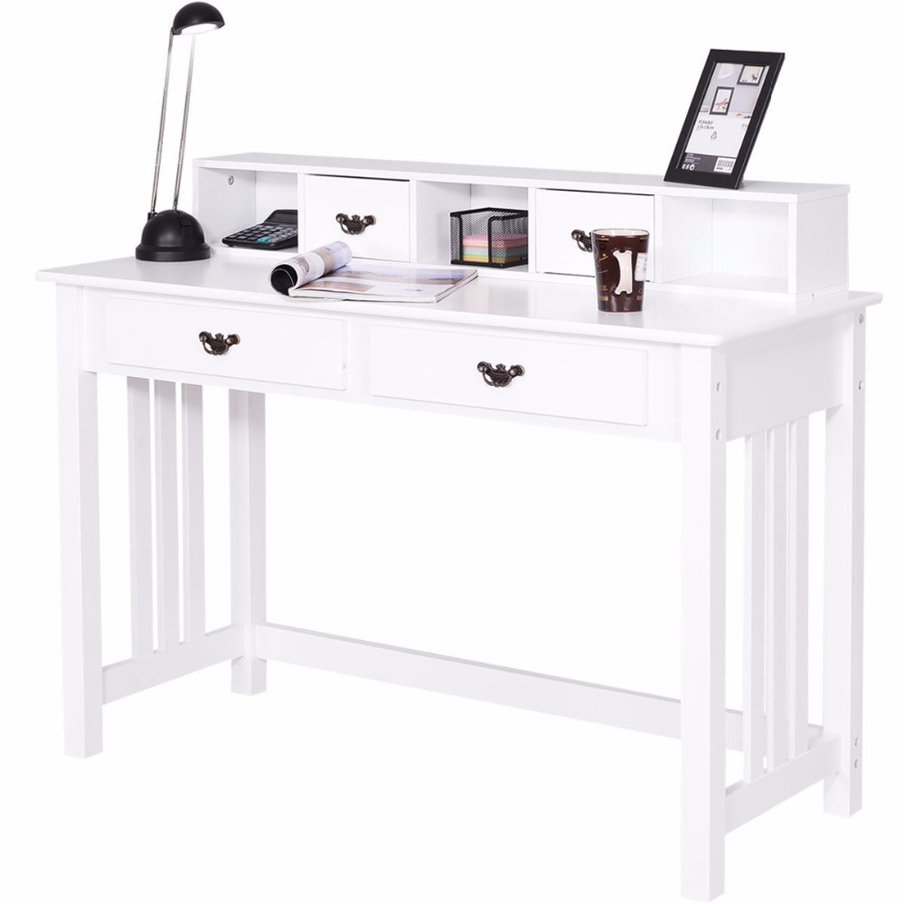 giantex writing desk mission white home office puter