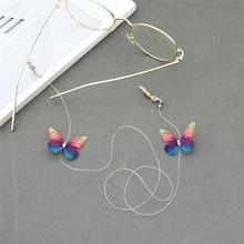Imixlot Romantic Temperament Butterfly Transparent Glasses Chain for Women Girls Elastic Neck Strap