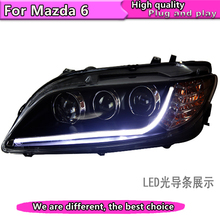 Car Styling for TLZ Mazda 6 Headlights 2004-2012 for Mazda6 LED Headlight DRL Lens Double Beam H7 HID Xenon bi xenon lens
