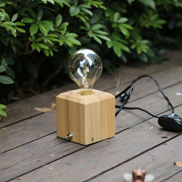 Vintage Wooden Table Lamp For Bedroom Office Study Room Lighting E27