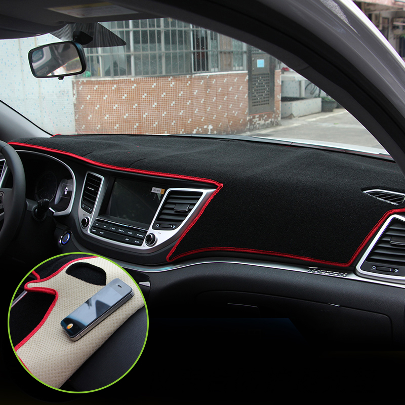 Car dashboard Avoid light pad Instrument platform desk cover Mats Carpets For Hyundai Tucson 2015 2016 2017 Auto accessories for toyota crown 2004 2016 double layer silica gel car dashboard pad instrument platform desk avoid light mats cover sticker