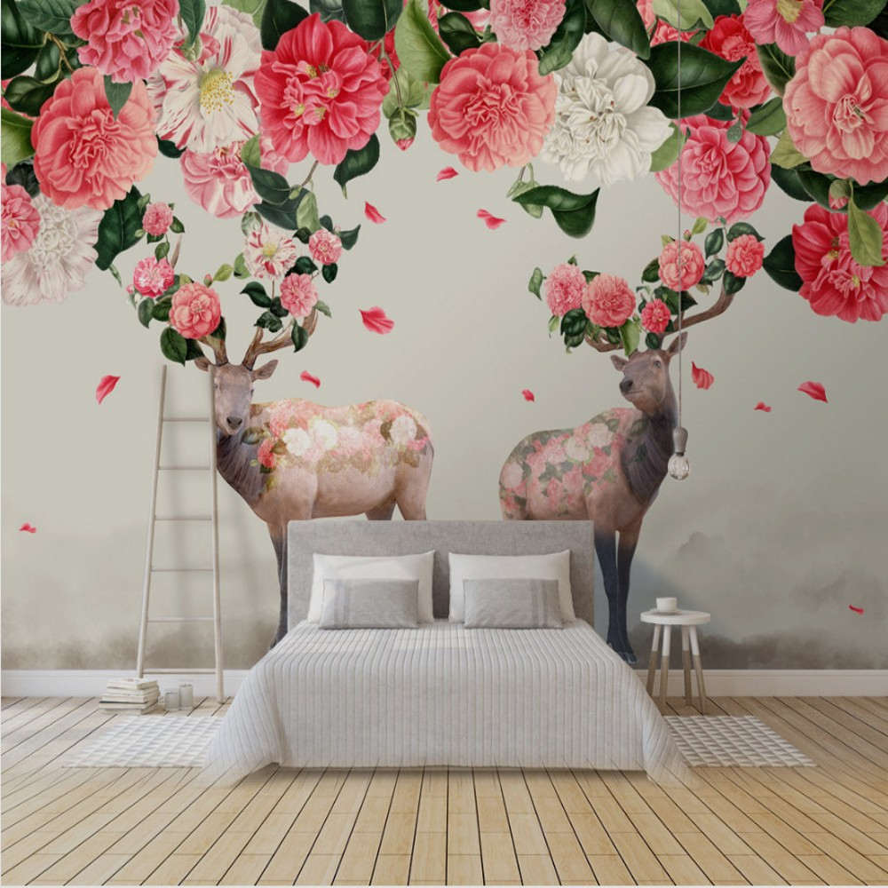 On Sale Free Shipping Custom 3d Mural Forest Deer Flying Petals Tv