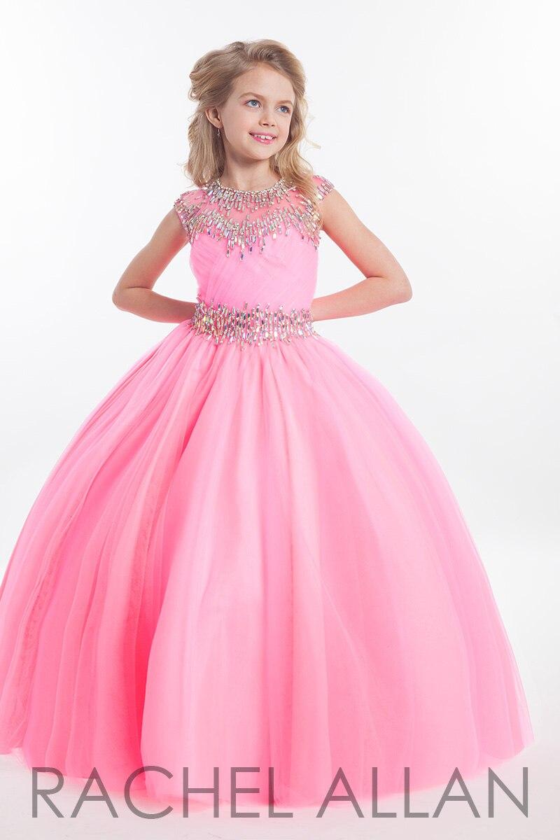2016 New Arrival Princess Pink Beading Crystal Tulle Floor Length Zipper Back Flower Girl's Dresses
