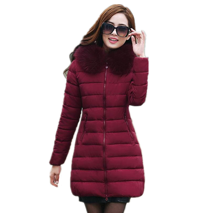 2017 Winter Women Jackets Coats Thick Warm Hooded Lady Down Cotton Padded Parkas Woman Jacket Female Manteau Femme