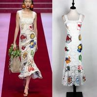 Plus Size Print Maxi Dress Designer Milan Runway Gown White Spaghetti Straps Embroidery Lace Vestidos De Festa 9271bc