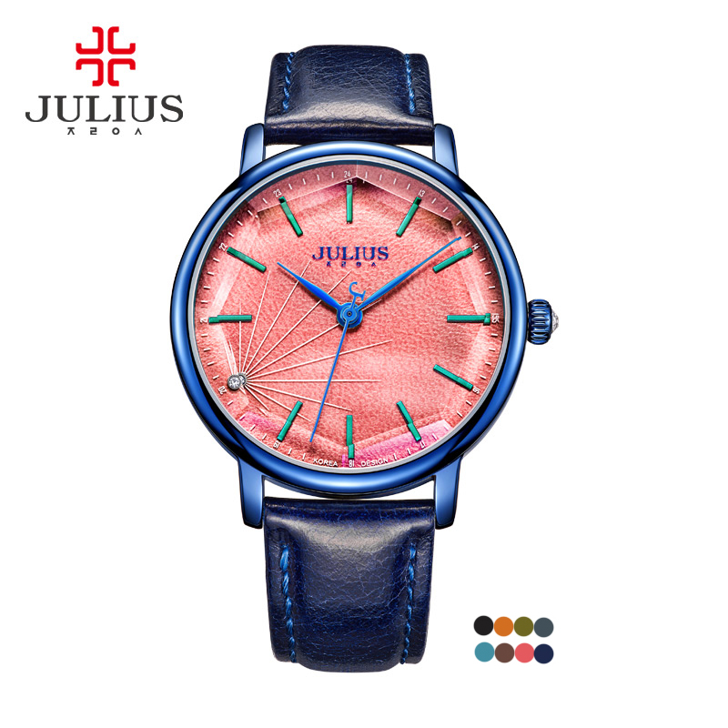 New Top Julius Lady Women's Watch Fine Fashion Clock Hours Dress Bracelet Leather School Girl Birthday Gift Box real functions julius shell women s watch isa mov t hours clock fine fashion bracelet sport leather birthday girl gift box