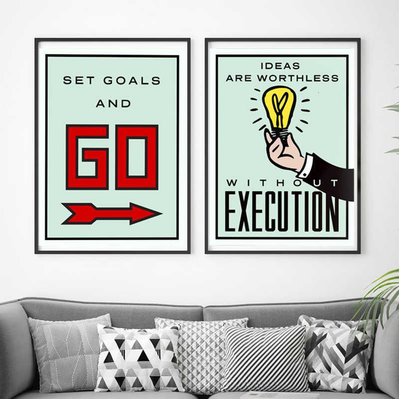 Alec Monopoli Seni Kanvas Lukisan Papan Permainan Kartu Poster dan Cetak Minimalis Modern Dinding Gambar untuk Kamar Dekorasi Rumah Kantor