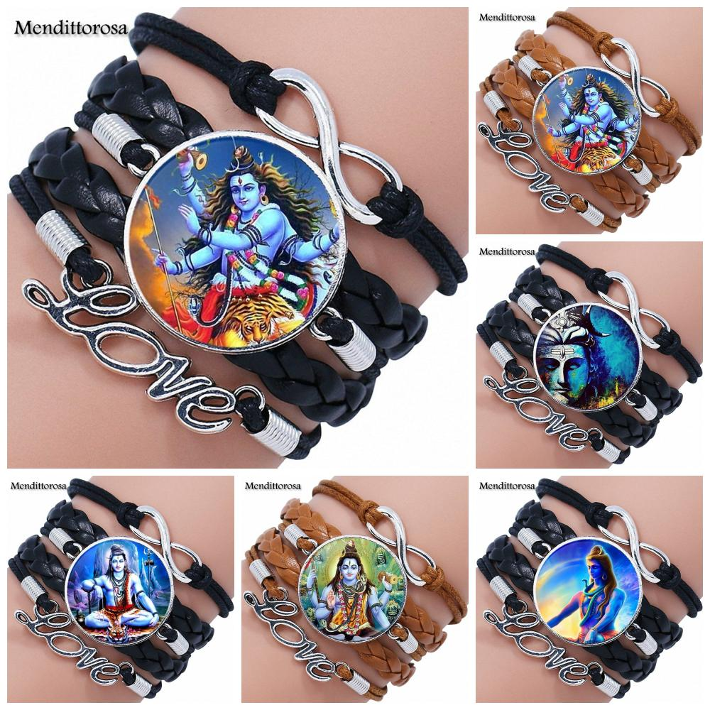 For Christmas Gift Handmade Glass Cabochon Multilayer Black/Brown Leather Bracelet Bangles Jewelry Good Condition Lord Shiva