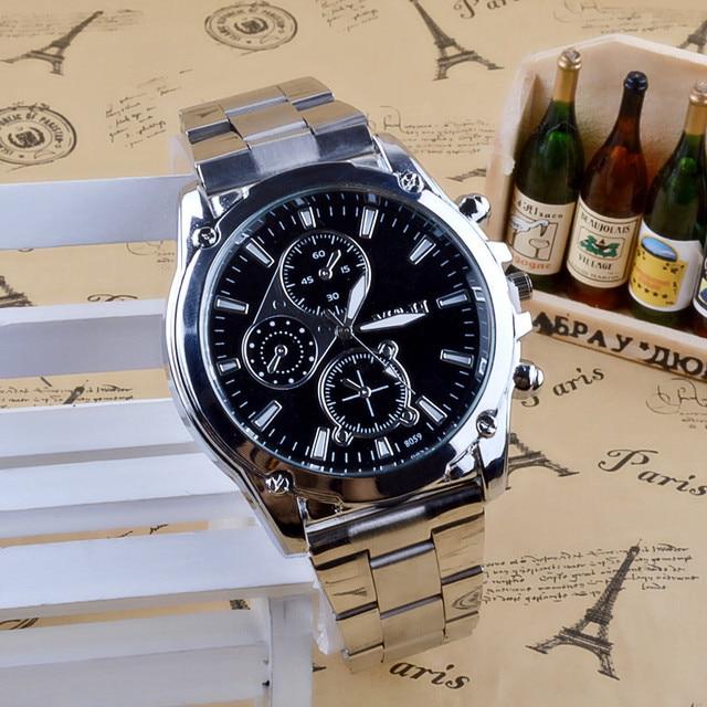 כסף נירוסטה שעונים גברים למעלה מותג יוקרה מינימליסטי קוורץ שעון שחור חיוג ספורט שעון עסקי גברים של שעון יד