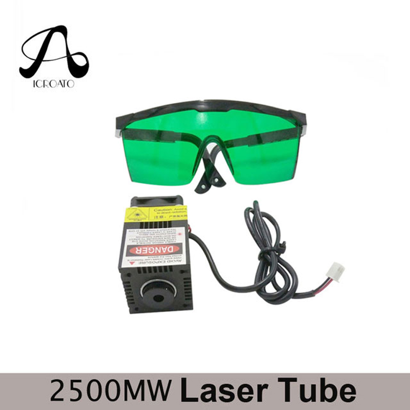 ICROATO 2500mw 450NM focusing blue purple laser module engraving,2.5w laser tube diode hx2.54 2p port+protective googles ipl laser machine used laser protective googles