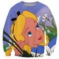 Alisister mujeres lindas 3d sudadera hoodies impresos cuello redondo sudadera harajuku tie-dye cartoon alice in wonderland clothing