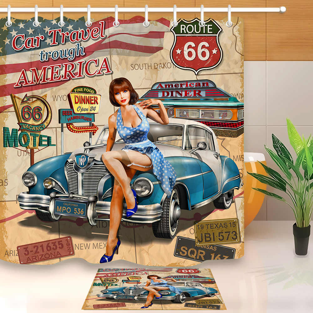 LB Car Travel Through America Historic Retro Trip Sexy Girl Shower Curtain Route 66 Mat Set Bathroom Fabric For Bathtub Decor