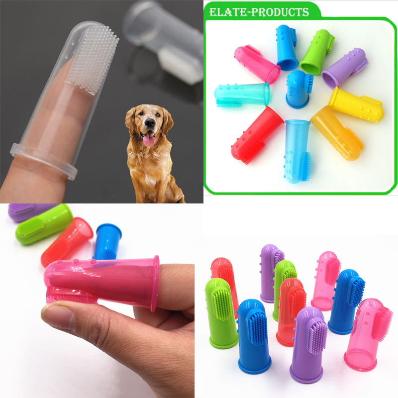 5.5*2.2cm Super Soft Pet Finger Toothbrush Teddy Dog Brush Addition Bad Breath Tartar Teeth Care Dog Cat Cleaning Supplies image
