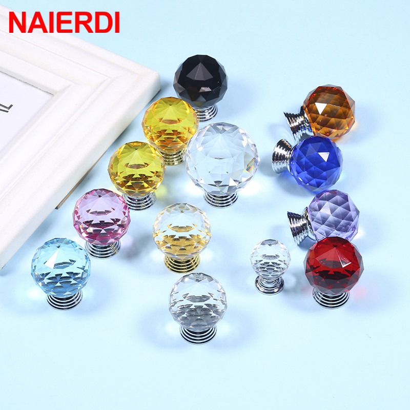 NAIERDI Colorful Crystal Glass Knobs Cabinet Handles Crystal Ball Cupboard Pulls Drawer Knobs Kitchen Furniture Handle