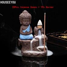 20 piezas conos de incienso + 1 quemador de Pc pequeño monje Pequeño Buda incensario de cerámica cascada reflujo soporte quemador de incienso decoración del hogar