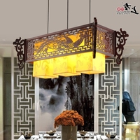 atmosphere restaurant head Chinese style Wooden antique wooden sheepskin Chandelier Lamp three classical teahouse send bless
