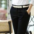 Mulheres Calças 2016 Primavera Outono Plus Size Elegante OL escritório preto Calça Casual Calças Slim Calças Formais Reta Calças 6XL KZ2