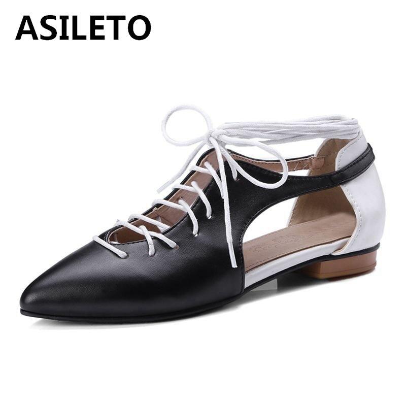 aa6f753d66c Bailarina Asileto Up Cuero Mujeres Primavera Oxford Pu Flats black Zapatos  white De Blancos Beige pink ...