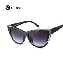 Aoubou oversize кошачий глаз Солнцезащитные очки для женщин 2017, женская обувь Брендовая дизайнерская обувь черный Пластик Поликарбонат антибликовое Тенты Защита от солнца Очки AB713