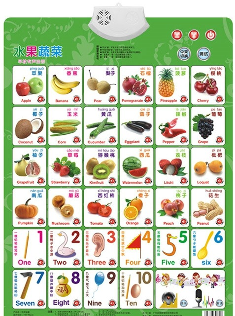 Learn Fruit Vegetable Number Card Book Baby Sound Wall Chart Early - baby chart
