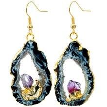 SUNYIK Natural Agate Geode Slice Amethyst Drusy Crystal Quartz Dangle Earrings,Gold Plated цены