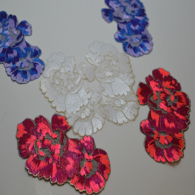 Somelace 12,5 * 7,5 cm (1 Paar / Los) blau glänzende Seidenflecken Hochzeit Braut Stickerei Spitze Flecken Nähen Spitze Applique