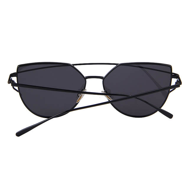 6253f430fc Hot Sale Mirror Flat Lense Women Cat Eye Sunglasses Classic Brand Designer  Twin-Beams Rose