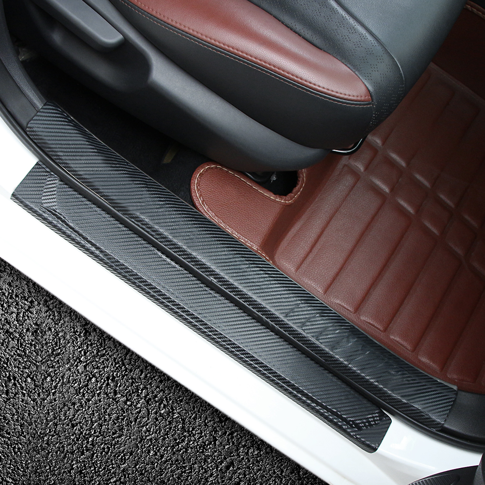 Image 5 - Scuff Plate Door Sill Carbon Fibre Sticker Car Accessories For KIA RIO K2 Sedan Hatchback 2010   2014 2015 2016 2017 2018-in Car Stickers from Automobiles & Motorcycles