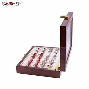 Image 2 - Glass Cufflinks Box for Men High Quality Painted Wooden Collection Display Box Storage 12pairs Capacity Rings Jewelry Box