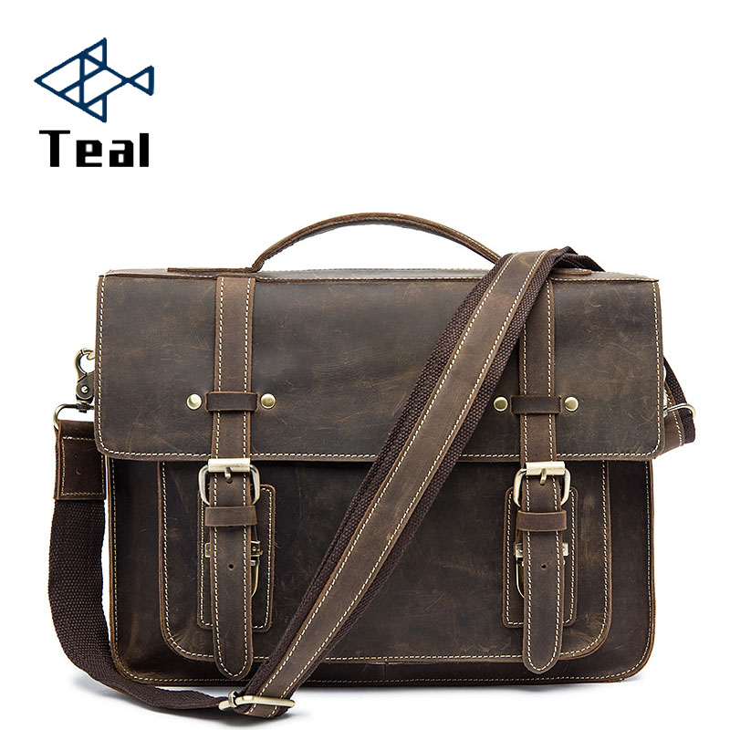 Men briefcase mens leather bag genuine shoulder Male vintage laptop Business