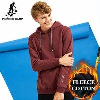 Pioneer Camp Autumn Winter Warm Fleece Men Hooded Hoodies Brand Clothing Thicken Sweatshirt Male 100 Cotton