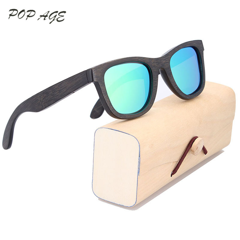 Men Sunglasses 2016 with Logo and Box OEM Wood Sunglasses Black Frame Wooden Glasses Shades Oculos Polarizado