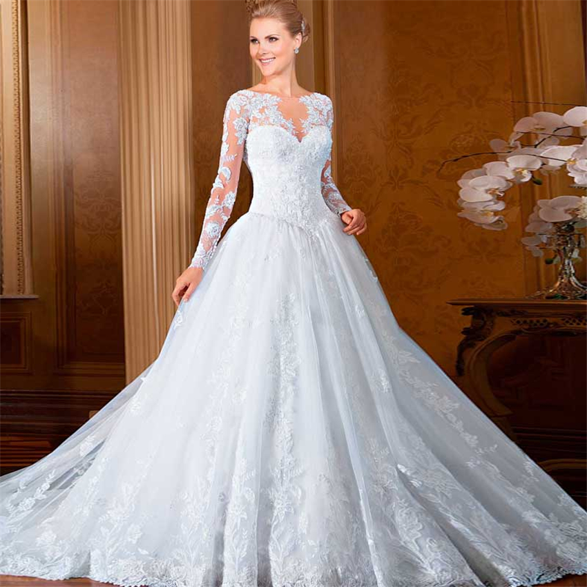 Exquisite Vestido De Noiva Ball Gown Scoop Neck Soft Lace Wedding Dress On Back Graceful Dresses With Full Sleeves In From