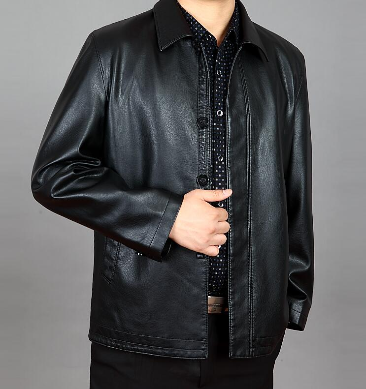 M--4XL  HOT  2019  Winter Men New Leisure Fashion Lapel ChanPi middle-aged and old leather jacket