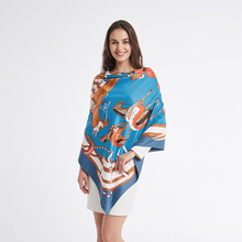 Fashion Animal Printed Silk Scarf For Women Square Shawls Big Hijab Scarfs Female 130*130cm Neckerchief Scarves For Ladies 2019