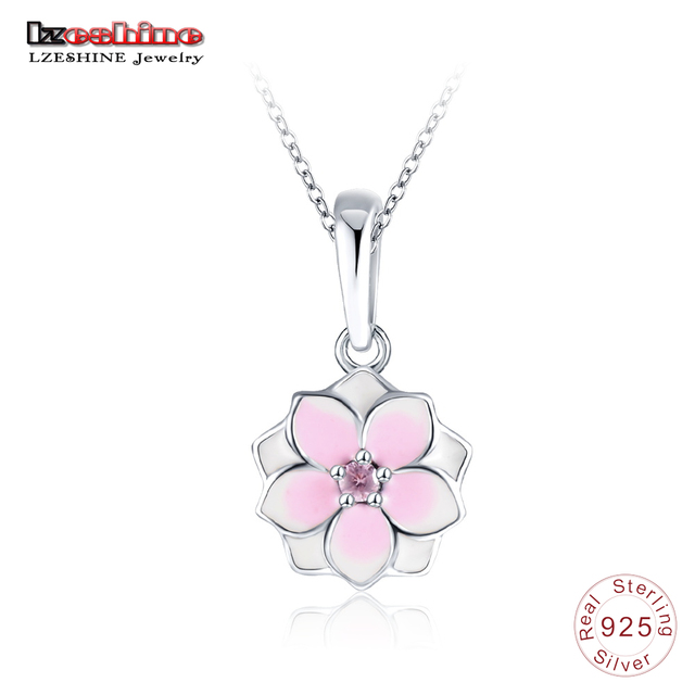 ef2c8b2fa3283 US $8.39 45% OFF|LZESHINE Magnolia Bloom Flower Pendant Silver Necklace for  Women 100% 925 Sterling Silver Banquet Party Accessories PSNL0048 B-in ...