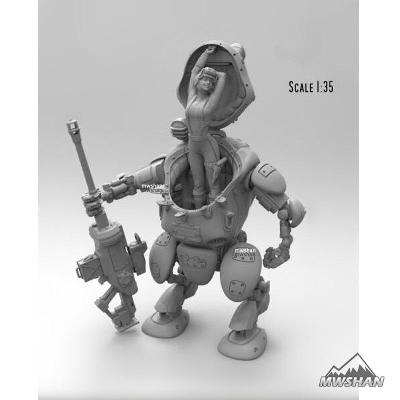 <font><b>1/35</b></font> Robot female mechanic Assembly Military Resin Miniatures <font><b>Model</b></font> <font><b>Building</b></font> <font><b>Kits</b></font> image