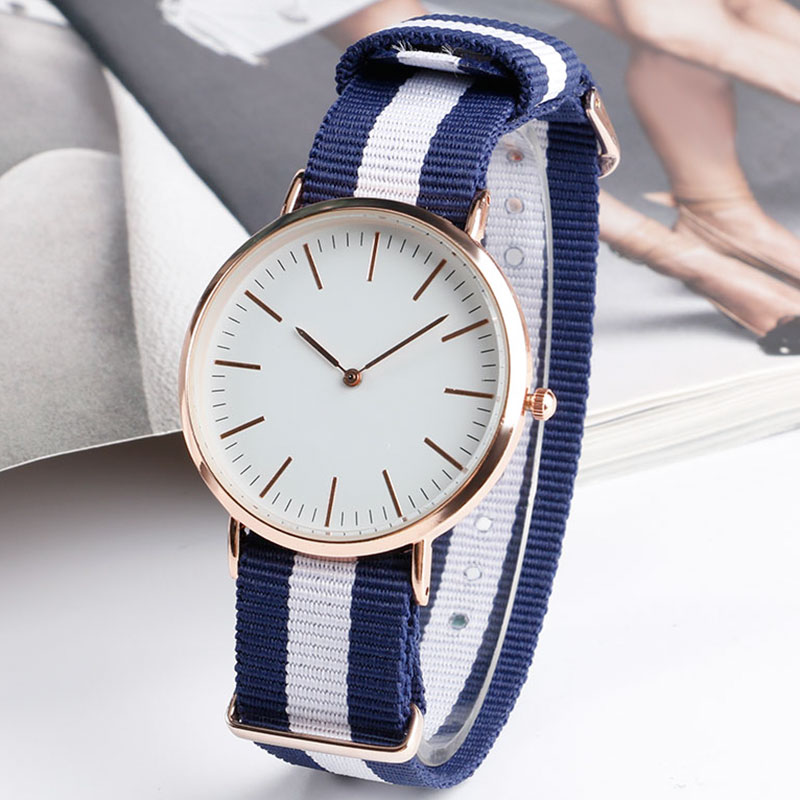 Fashion Minimalist Student Sport Simple Women Wristwatch Quartz Blue&White Stripe Nylon Nato Band Girl Watches Relogio Gift 2017