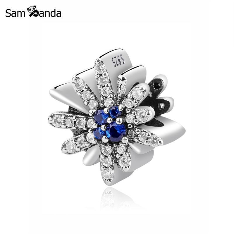 Original 100% 925 Sterling Silver Charm Bead Dazzling Fireworks Charms Blue Crystals CZ Fit Pandora Bracelets Women DIY Jewelry