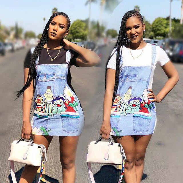 2018 Summer New Fashion Women Cartoon Denim Vestidos Casual Slim Dresses Fake Denim Braces Print Dress