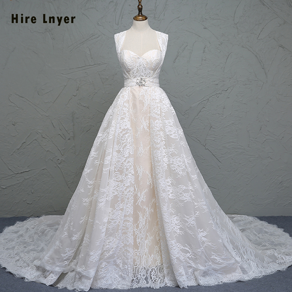 HIRE LNYER 2019 Newest Light Champagne France Lace Wedding Dress With Removable Train Vestidos De Renda Buy-Direct-From-China