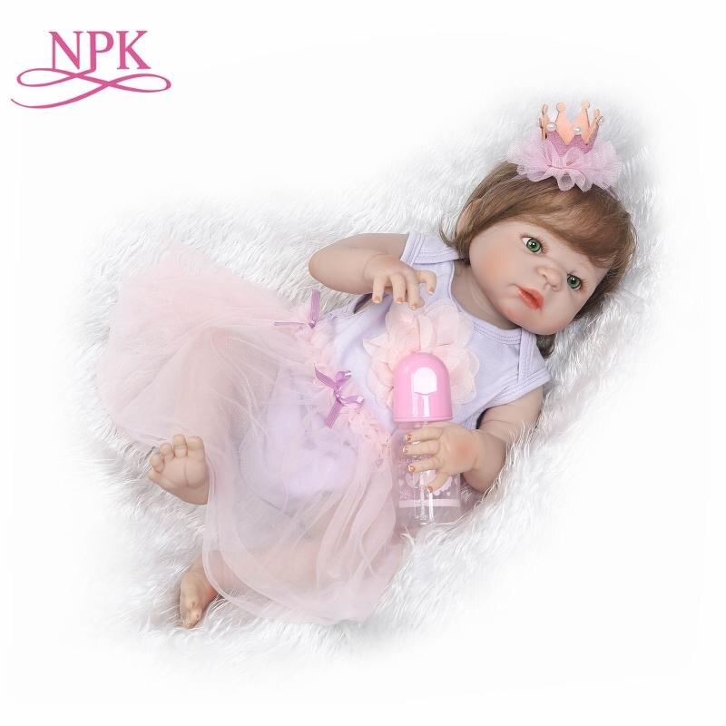 NPK/горячая Распродажа, детские куклы-Реборн, Реалистичная девочка, принцесса, 23 дюймов, детские куклы, живые, Новорожденные, bebe Моющиеся игру...